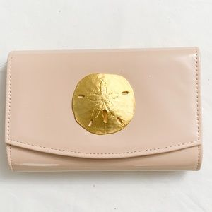 Beige Clutch Bag Purse Patent leather Sand Dollar
